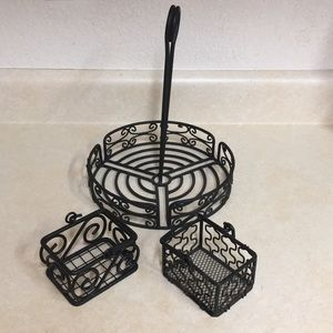 Wrought iron sauce and packet caddy bundle